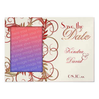 "Elegant Gold Red ""Save the Date"" Flourish Cards 11 Cm X 16 Cm Invitation Card"