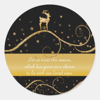 Elegant gold reindeer Christmas Round Sticker