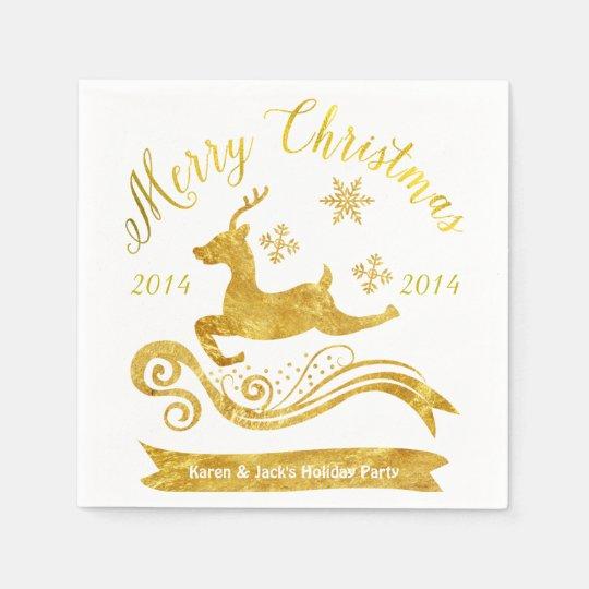 Elegant Gold Reindeer & Snowflake Cocktail Napkins Disposable