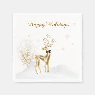 Elegant Gold Reindeer, Winter Scene Paper Napkin