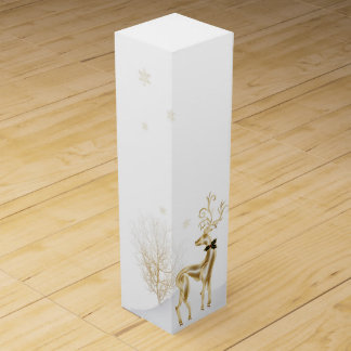 Elegant Gold Reindeer, Winter Scene Wine Box