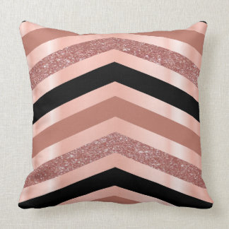 Elegant Gold Rose & Black Chevron Design Cushion