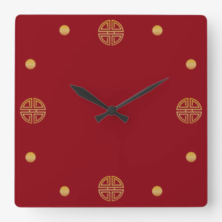 Elegant Gold Round Geometric Longevity Motif Wallclocks