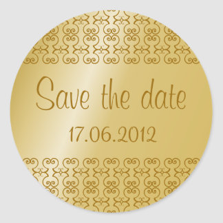 Elegant Gold Save the Date Wedding Sticker