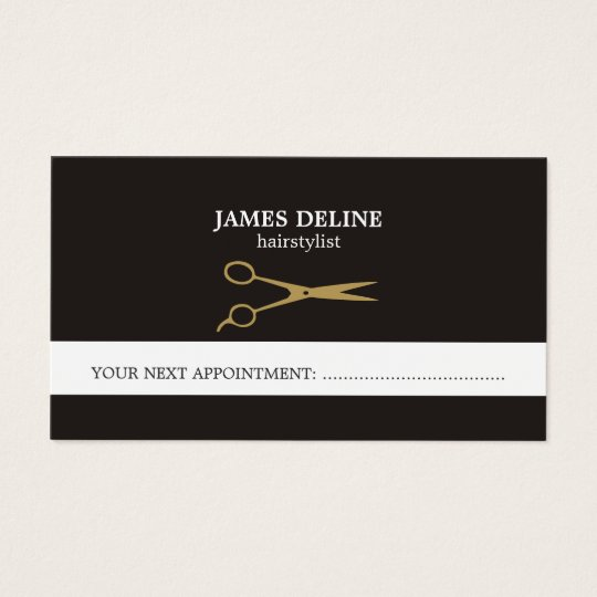 Elegant Gold Scissor Hair Stylist Appointment Card