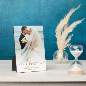 Elegant Gold Script Love Wedding Photo Plaque