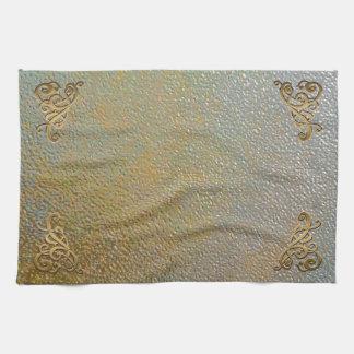 Elegant Gold Scrolls | Silver Gold Metal Look Tea Towel
