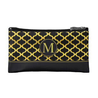Elegant Gold Seamless Monogram | Cosmetic Bag
