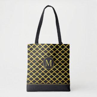 Elegant Gold Seamless Monogram | Tote Bag