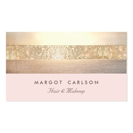 Elegant Gold Sequins Light Pink Striped *NO SHINE Business Card Template