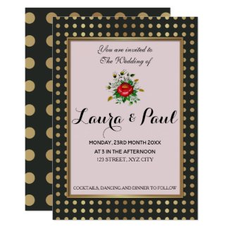 Elegant Gold & shades of Grey Wedding Card