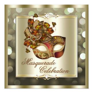 Elegant Gold Shimmering Lights Bokeh Masquerade 13 Cm X 13 Cm Square Invitation Card