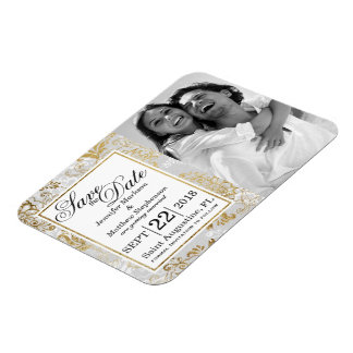 Elegant Gold Silver and Gray Floral Save the Dates Rectangular Photo Magnet
