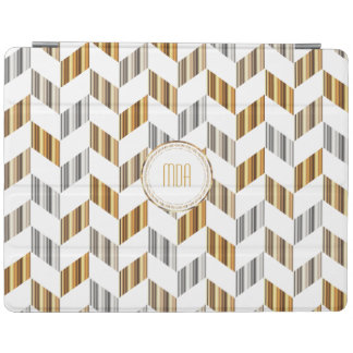Elegant Gold, Silver, and White Herringbone Design iPad Cover