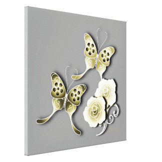 Elegant Gold & Silver Butterflies And Roses Canvas Prints
