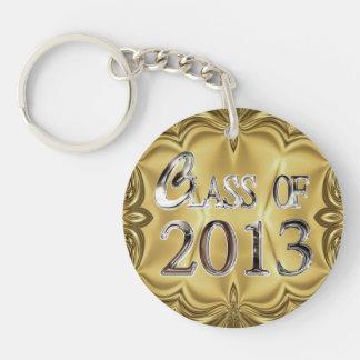 Elegant Gold Silver Class Of 2013 Keychain