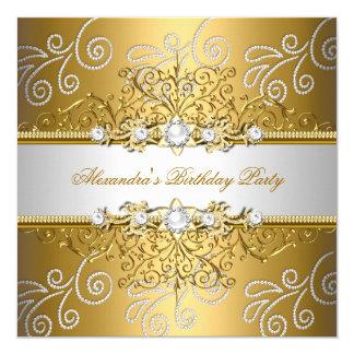 Elegant Gold Silver Lace Diamond Overlay Party 13 Cm X 13 Cm Square Invitation Card