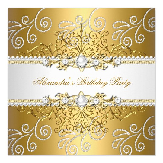 Elegant Gold Silver Lace Diamond Overlay Pearls Card