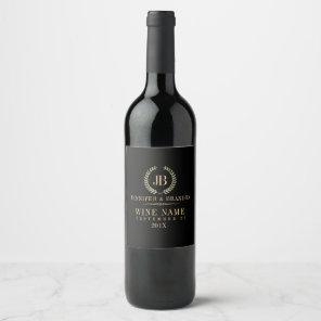 Elegant Gold & Silver Laurel Wreath Wine Label