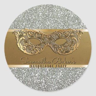 Elegant Gold Silver Masquerade Party Birthday Classic Round Sticker
