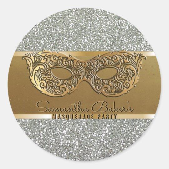 Elegant Gold Silver Masquerade Party Birthday Classic Round