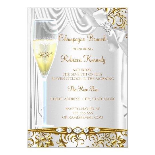 Elegant Gold Silver White Silk Champagne Brunch Card