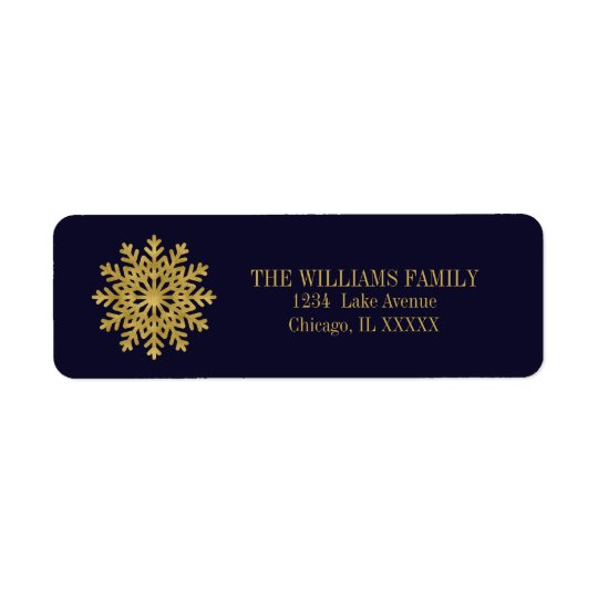 Elegant Gold Snowflake Holiday Address Labels