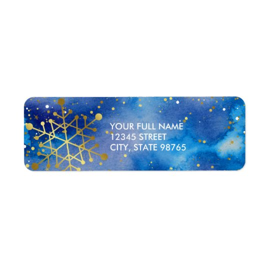Elegant Gold Snowflakes Purple and Blue Watercolor