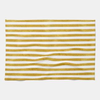 Elegant Gold Stripe -Custom Your Color- Tea Towel