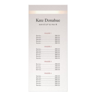 Elegant Gold Stripe Hair Salon Price List Menu Personalised Rack Card