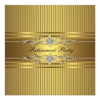 Elegant Gold Stripe Retirement Party 13 Cm X 13 Cm Square Invitation Card