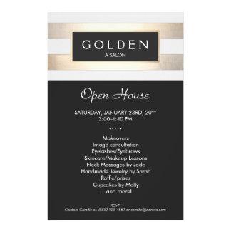 Elegant Gold Striped Hair Salon and Spa 14 Cm X 21.5 Cm Flyer