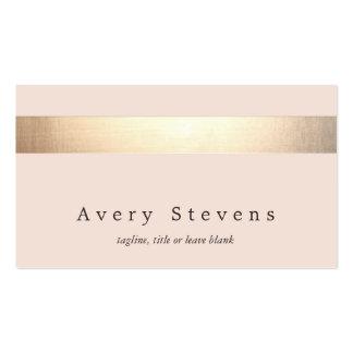 Elegant Gold Striped (no shine) Modern  Light Pink Pack Of Standard Business Cards