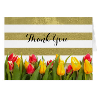 Elegant Gold Stripes and Tulips Card