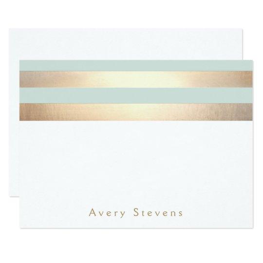 Elegant Gold Stripes Light Blue Personalised Card