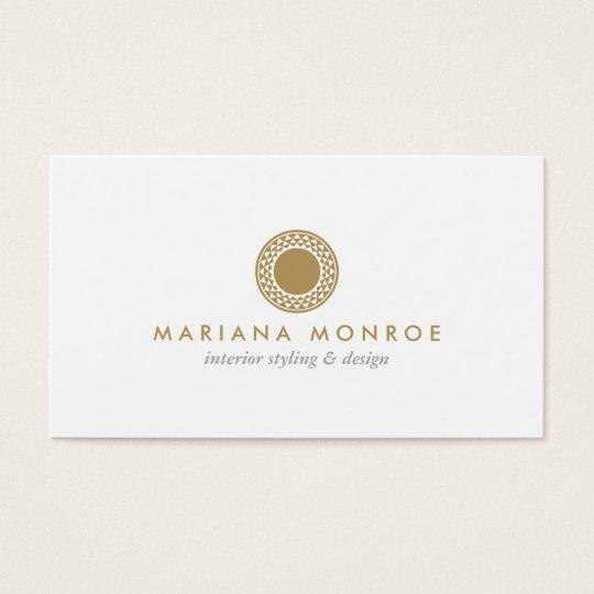 ELEGANT GOLD SUN LOGO on WHITE Business Card