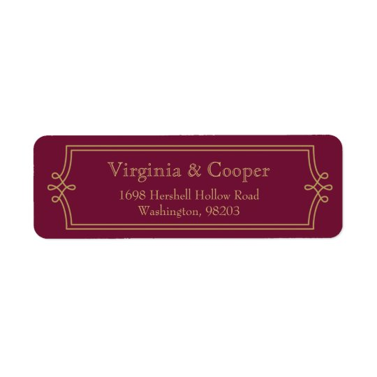 Elegant Gold Swirl Modern Return Address Label