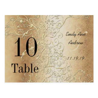 Elegant Gold Swirls Black Font Table Numbers Postcards
