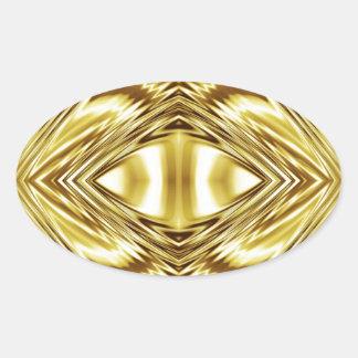 Elegant gold symmetry oval sticker
