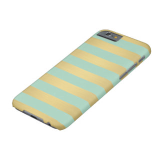 Elegant Gold Teal Stripes Metallic Luxury Barely There iPhone 6 Case