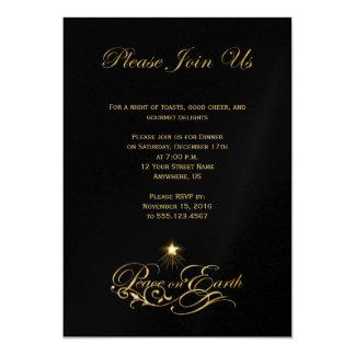 Elegant Gold Text Peace On Earth Black Invite