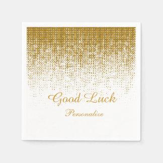 Elegant Gold Texture Print on White Background Disposable Serviettes