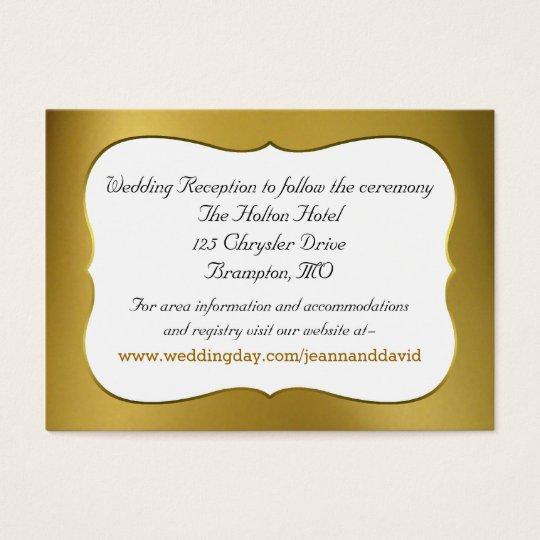 Elegant Gold Tone Wedding Enclosure Card