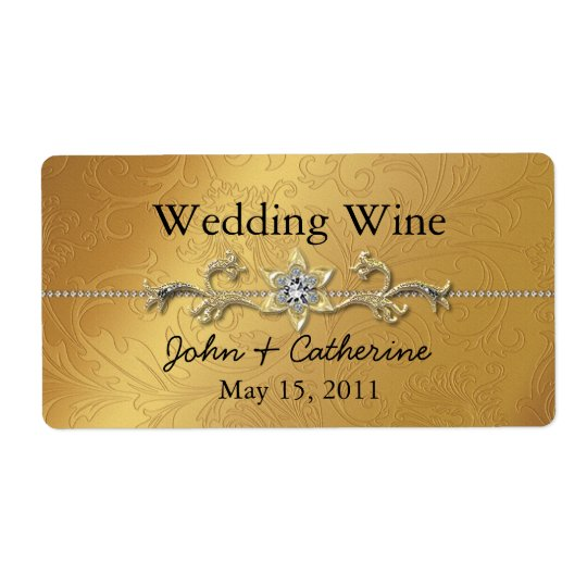 Elegant Gold Tone Wedding Wine Labels