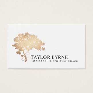 Elegant Gold Tree Logo Professional Business Card