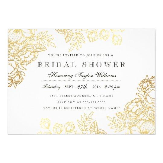 Elegant Gold Vintage Floral Bridal Shower Invite