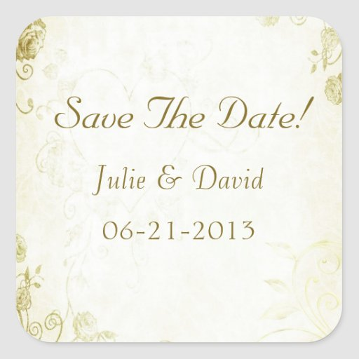 Elegant Gold Vintage Wedding Save The Date Stickers