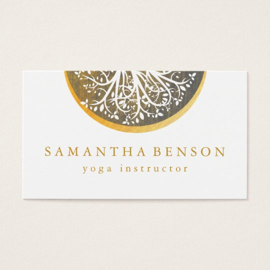 Elegant Gold Watercolor Tree Yoga and Meditation Business