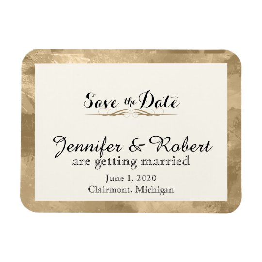 Elegant Gold Watercolor Wedding Save the Date Magnet