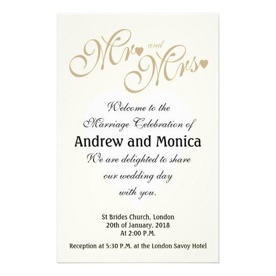 Elegant Gold Wedding Ceremony Programs Flyer